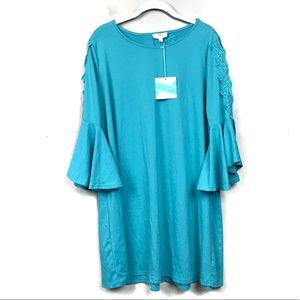 New with tags umgee teal lace bell sleeve dress L